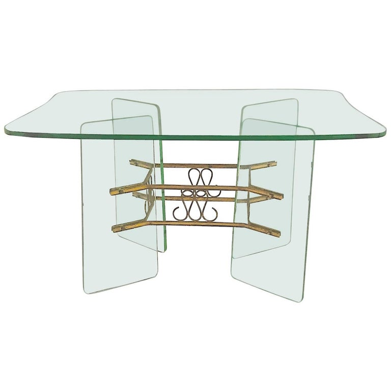 Italian 1950s Glass and Brass Coffee Table Attributed to Fontana Arte