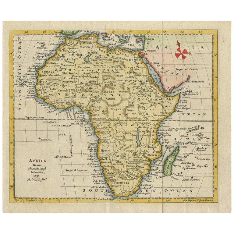 antique map of africa by t kitchin circa 1785 for sale at 1stdibs
