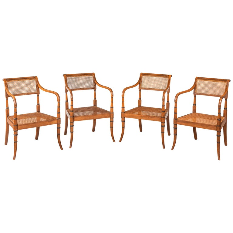 Set of Four Mahogany Elbow Chairs the Frames with Ebonized Turnings