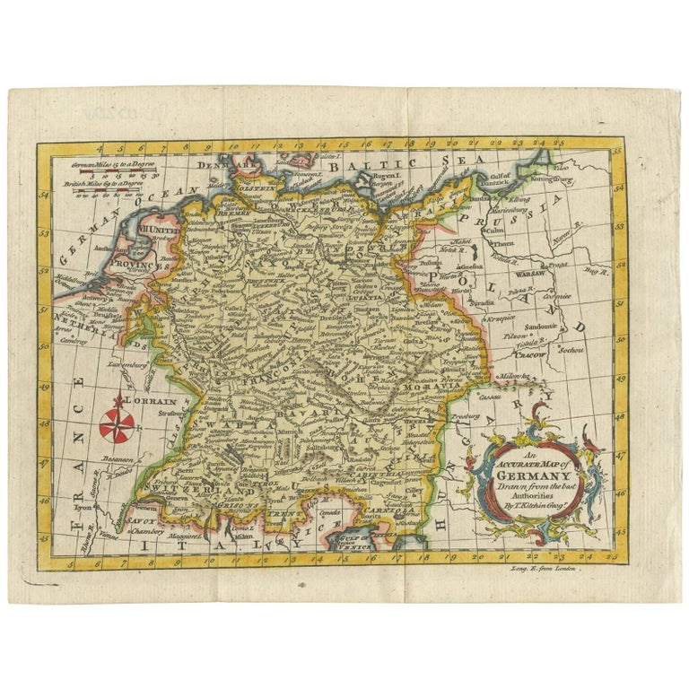 Map Of Germany For Sale.Antique Map Of Germany By T Kitchin Circa 1770