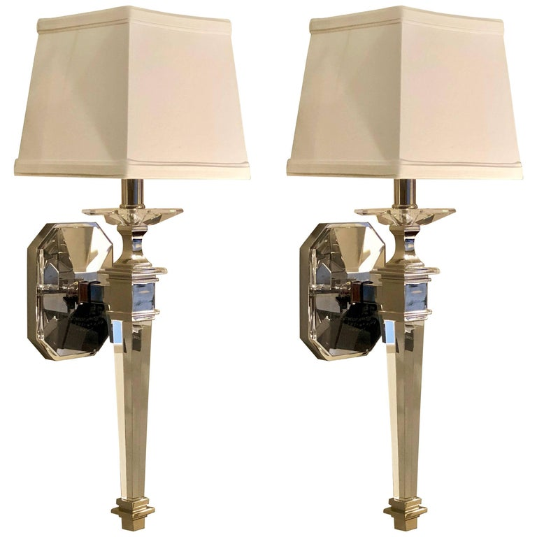Two Pairs Italian Mid-Century Modern Neoclassical Style Crystal Nickel Sconces