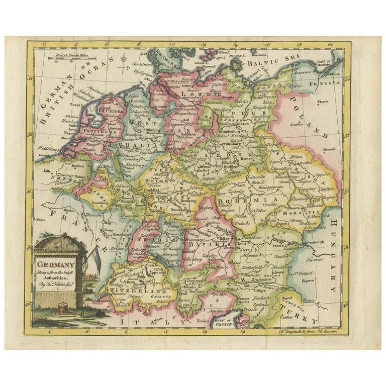 Geographical Map Of Germany.Antique Map Of Germany By T Kitchin Circa 1780