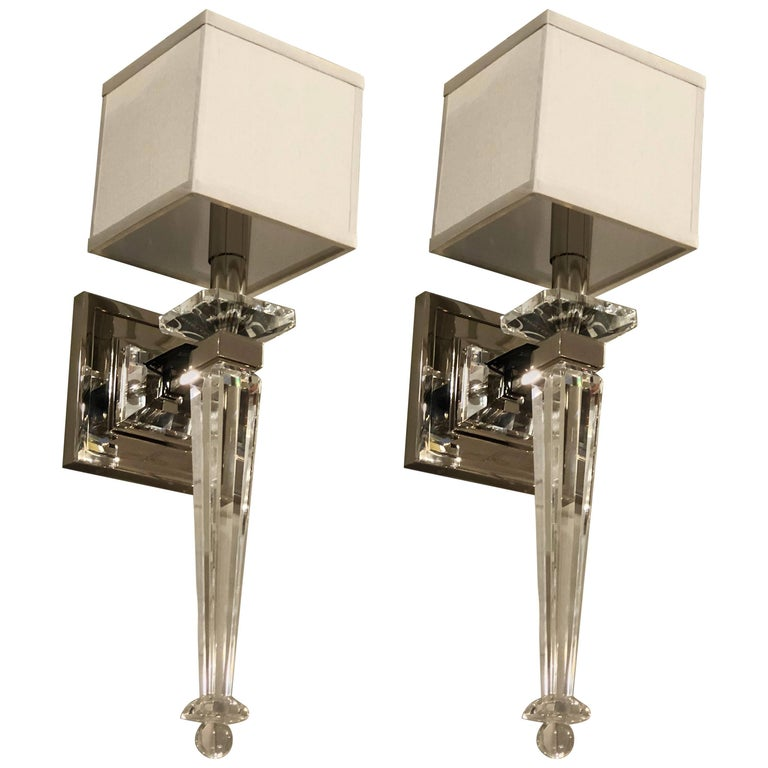 Italian Mid-Century Modern Neoclassical Style Crystal and Nickel Sconces