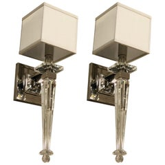2 Pairs Italian Mid-Century Modern Neoclassical Style Crystal and Nickel Sconces