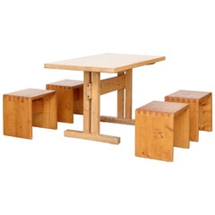 Charlotte Perriand Big Table and Four Stools for Les Arcs