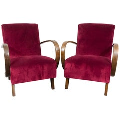 Pair of 1930s Czech Art Deco Armchairs by Jindrich Halabala