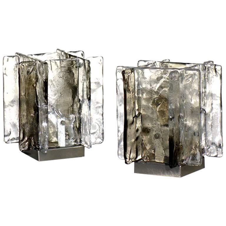 Carlo Nason, Mazzega Smoked Murano Glass 1970s Italian Design Table Lamps, Pair
