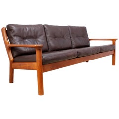 Midcentury Sofa in Teak and Leather by Glostrop