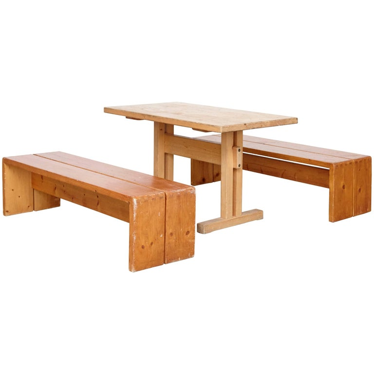 Charlotte Perriand Big Table and Two Benches for Les Arcs
