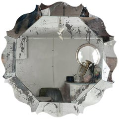 Large Contemporary Hexagonal Scalloped Silver Foxed Wooden Mirror