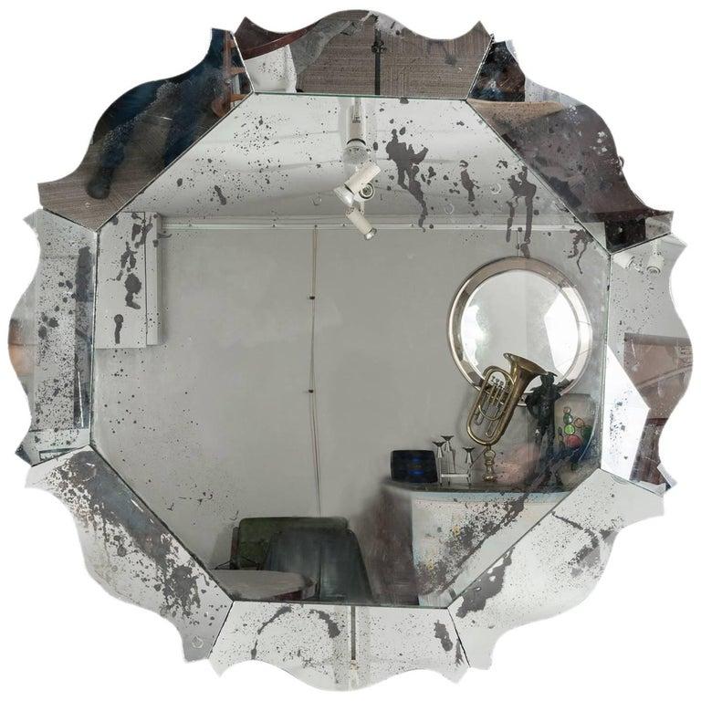 Large Contemporary Hexagonal Scalloped Silver Foxed Wooden Mirror