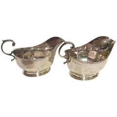 Art Deco Pair of Silver Sauceboats by Mappin & Webb