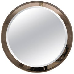 1970s Italian Vintage Round Wall Mirror with Brown Colored Glass