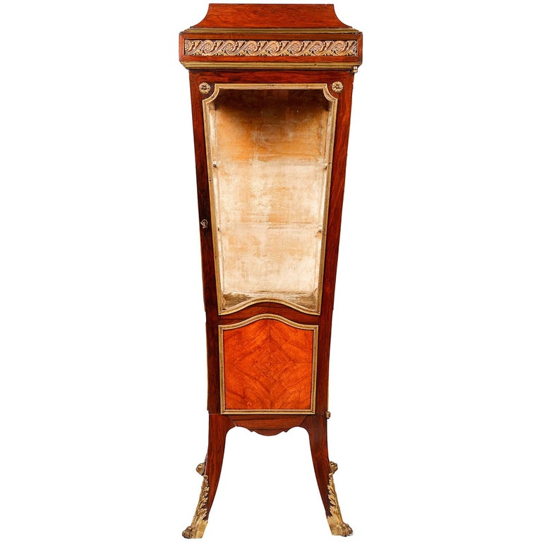 French Kingwood Pedestal Vitrine, 19th Century