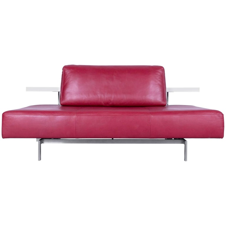 Rolf Benz Dono Designer Sofa Red Leather Three-Seat Couch Convenient Function