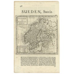 Antique Map of Sweden and Norway by H. Moll, circa 1715