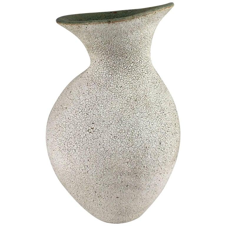 Contemporary Ceramic Curved Neck Vase No. 160 by Yumiko Kuga