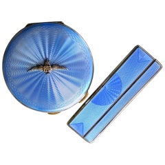 Charming RAF Sterling Silver and Blue Guilloche Enamel Compact Case