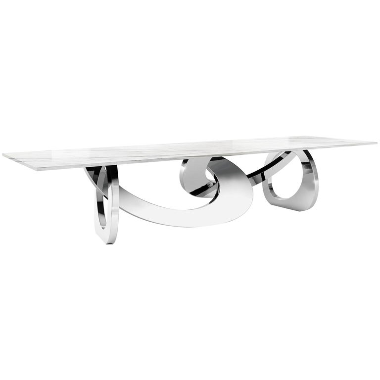 Dining Table Rectangular Marble White Steel Italian Limited Edition Design