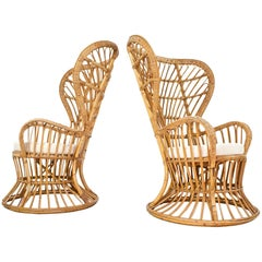 Handcrafted Rattan High Back Armchairs by Lio Carminati