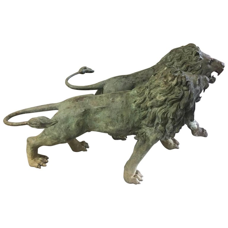 Monumental Pair of 19th Century Lifesize Bronze Lions