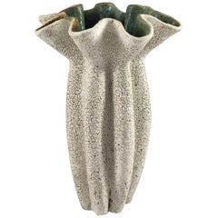 Contemporary Ceramic Ruffled Neck Vase No. 166 by Yumiko Kuga