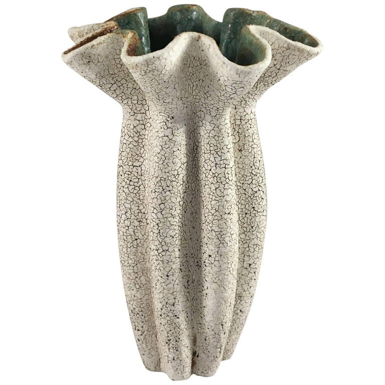 Contemporary Ceramic Ruffled Neck Vase No. 166 by Yumiko Kuga For Sale