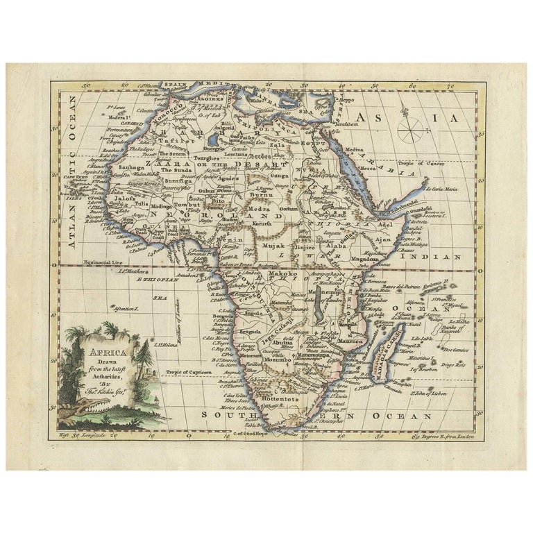 antique map of africa by t kitchin circa 1770 for sale at 1stdibs