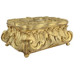 Antique Small Doré Gilt Bronze Table Box or Casket, 19th Century