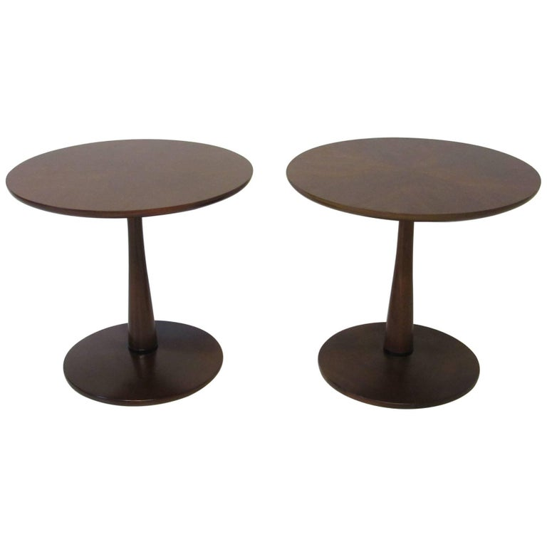 Kipp Stewart for Drexel Declaration Walnut Pedestal Side Tables