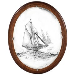 Silver Plated Classic Yacht Oval Plaque by Walker and Hall