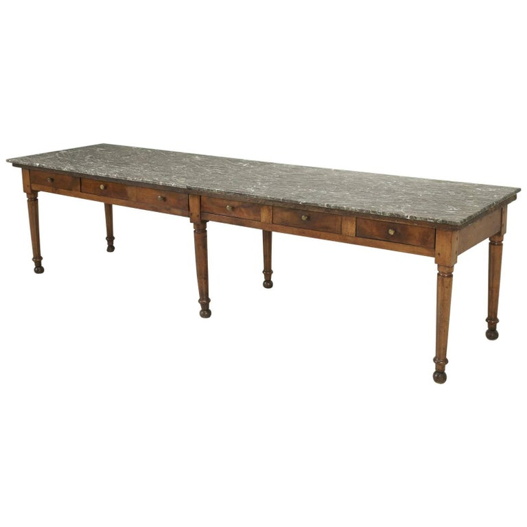 Antique French Dining Table with a Marble Top