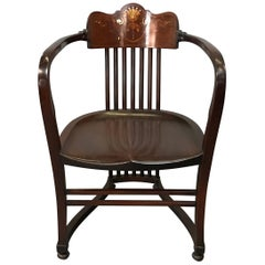 19th Century American Mahogany Armchair with Mother-of-Pearl Detail