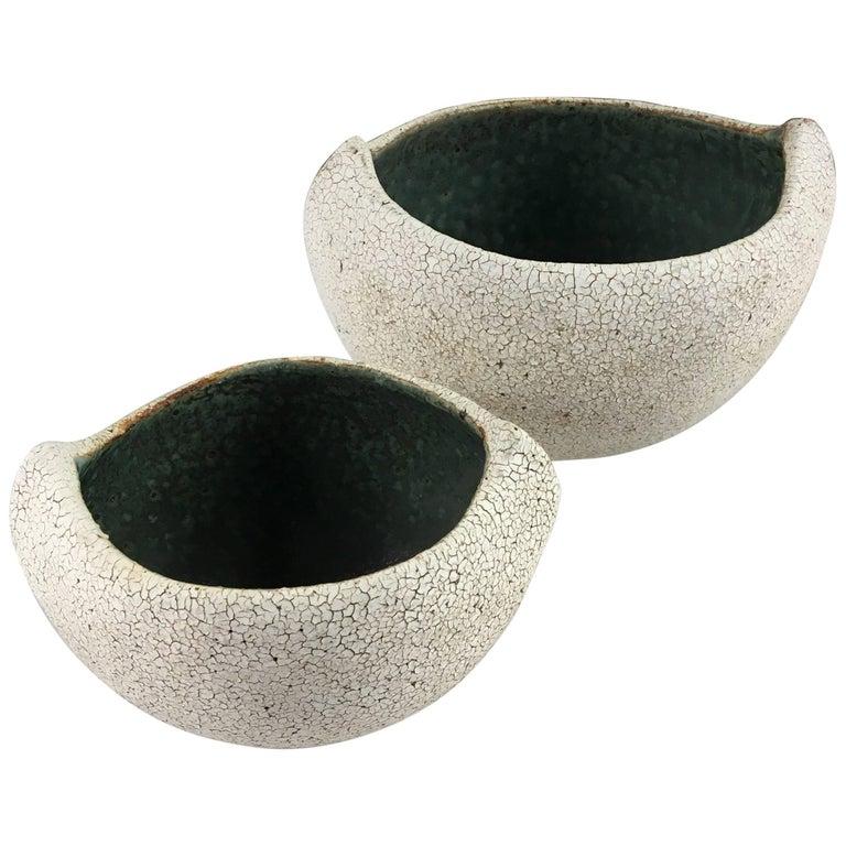 Contemporary Ceramic Set of Two Boat Shaped Bowls No. 173a by Yumiko Kuga