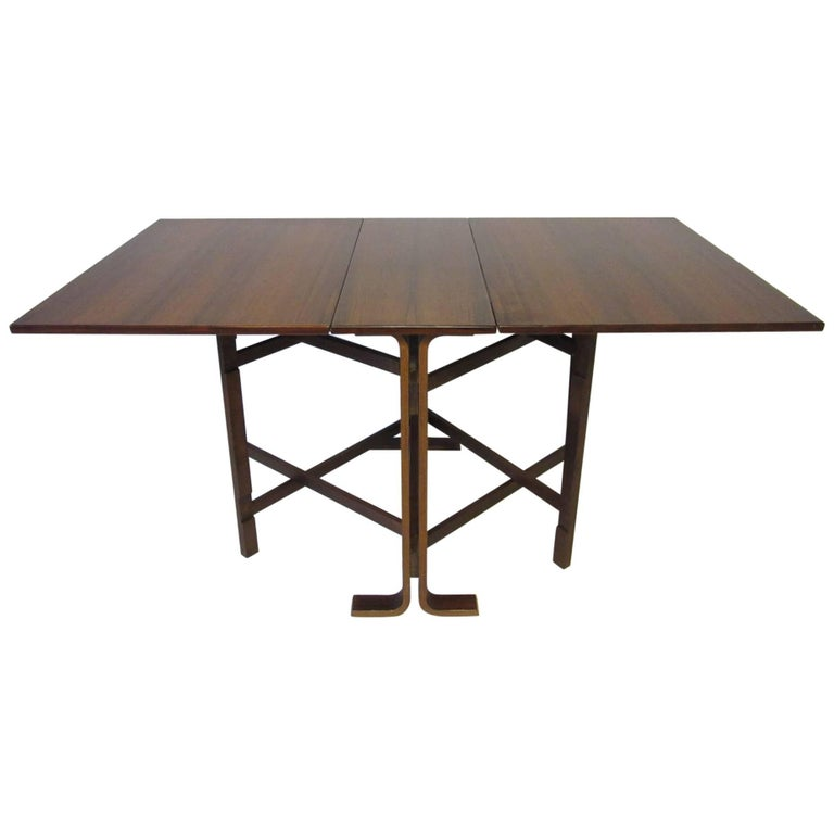 Rose Wood Gate Leg Dining Table in the Style of Danish Modern