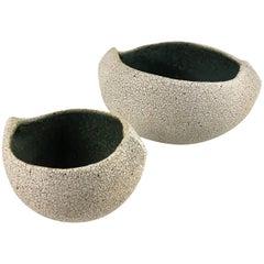 Contemporary Ceramic Set of Two Boat Shaped Bowls No. 173c by Yumiko Kuga