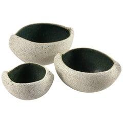 Contemporary Ceramic Set of Three Boat Shaped Bowls No. 174 by Yumiko Kuga