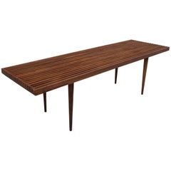 Mid-Century Modern Slat Walnut Coffee Table Bench by Mel Smilow
