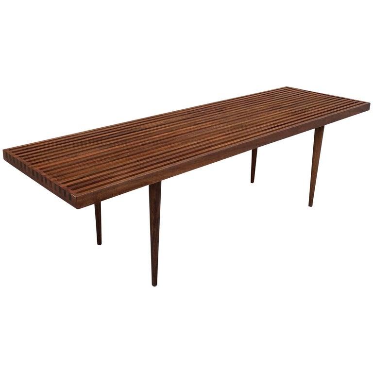 Mid-Century Modern Slat Walnut Coffee Table Bench by Mel Smilow