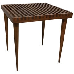 Mid-Century Modern Slat Walnut Side Table by Mel Smilow
