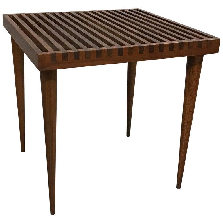 Mid-Century Modern Slat Walnut Side Table by Mel Smilow