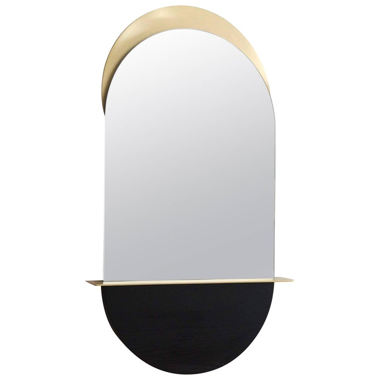 Solis Mirror, Small, in Satin Brass and Blackened Ash by Simon Johns