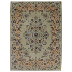 Pale Green Vintage Persian Kashan Rug with Traditional Style