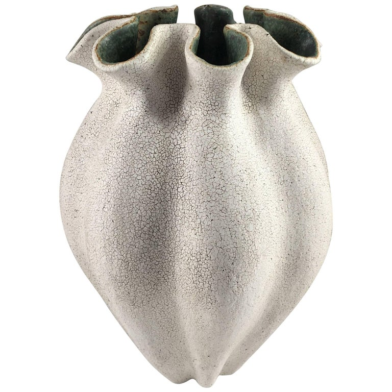 Contemporary Ceramic Ruffled Neck Vase No. 181 by Yumiko Kuga