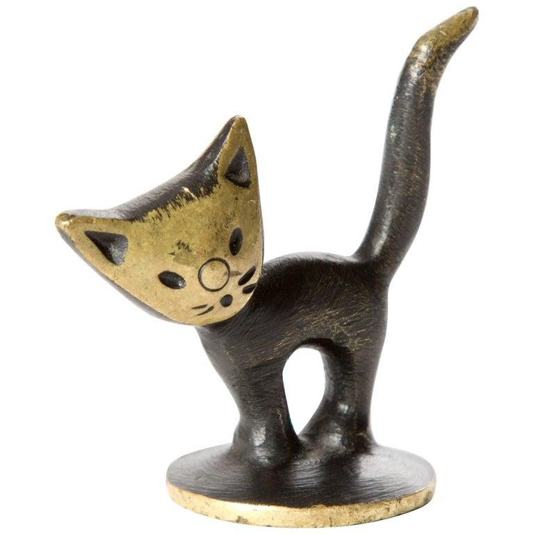 Brass Kitten Cat Walter Bosse Blackened Brass with Hertha Baller, Vienna For Sale