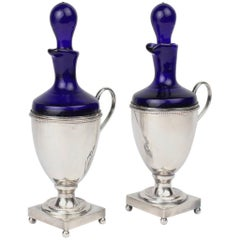 Pair of Silver Plate & Cobalt Blue Glass Oil & Vinegar Cruets by Israel Freeman
