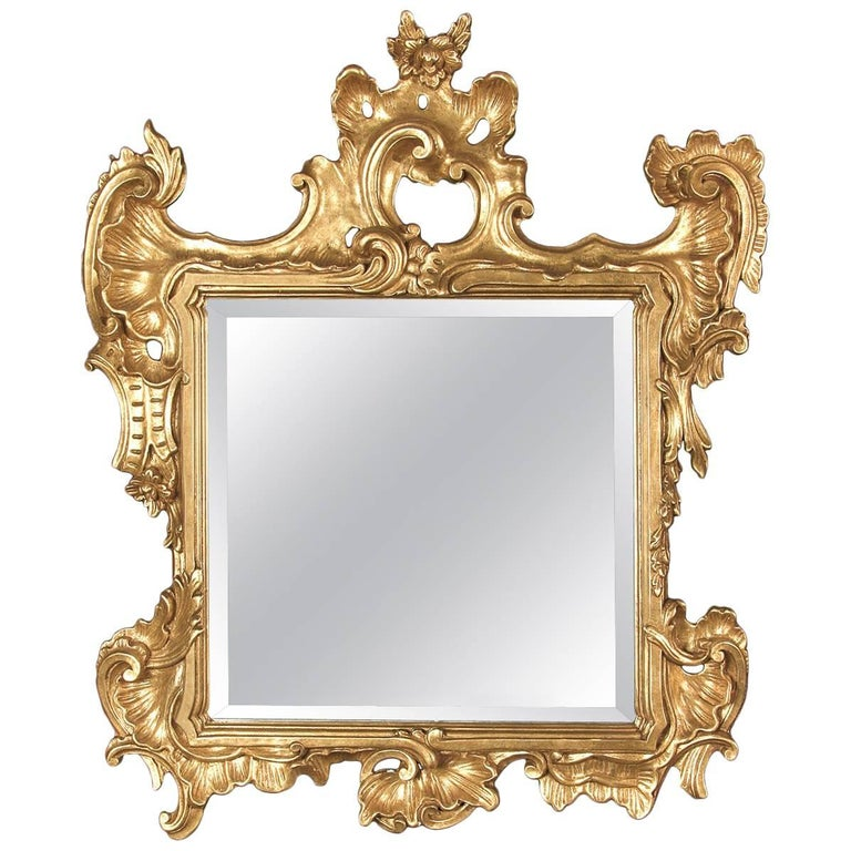 Square Mirror with Gold Leaf