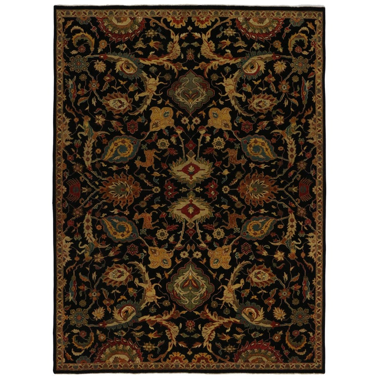 Modern Black Persian Style Rug With Mahal Design Hollywood Regency Area For