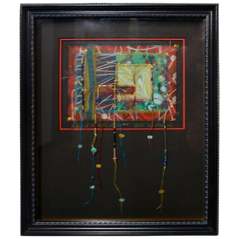 Billi R.S.Rothove Beaded Pattern Patch Mixed Media Framed Art