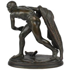Antique Bronze Sculpture of a Roman Gladiator after Edme Anthony Paul Noel
